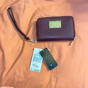 NWT Michael Kors Bordeaux Wallet Wristlet